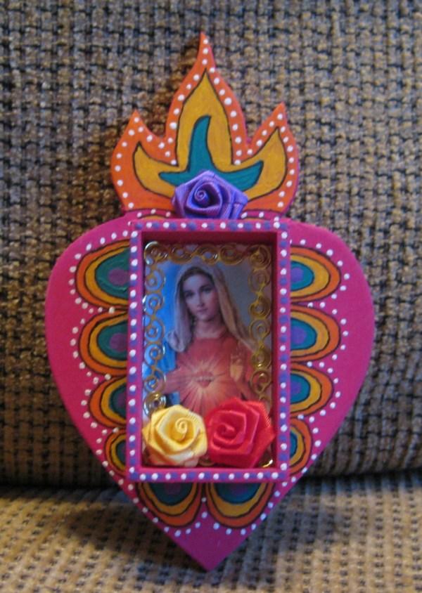 Sacred Heart Mexican Folk Art Retablo
