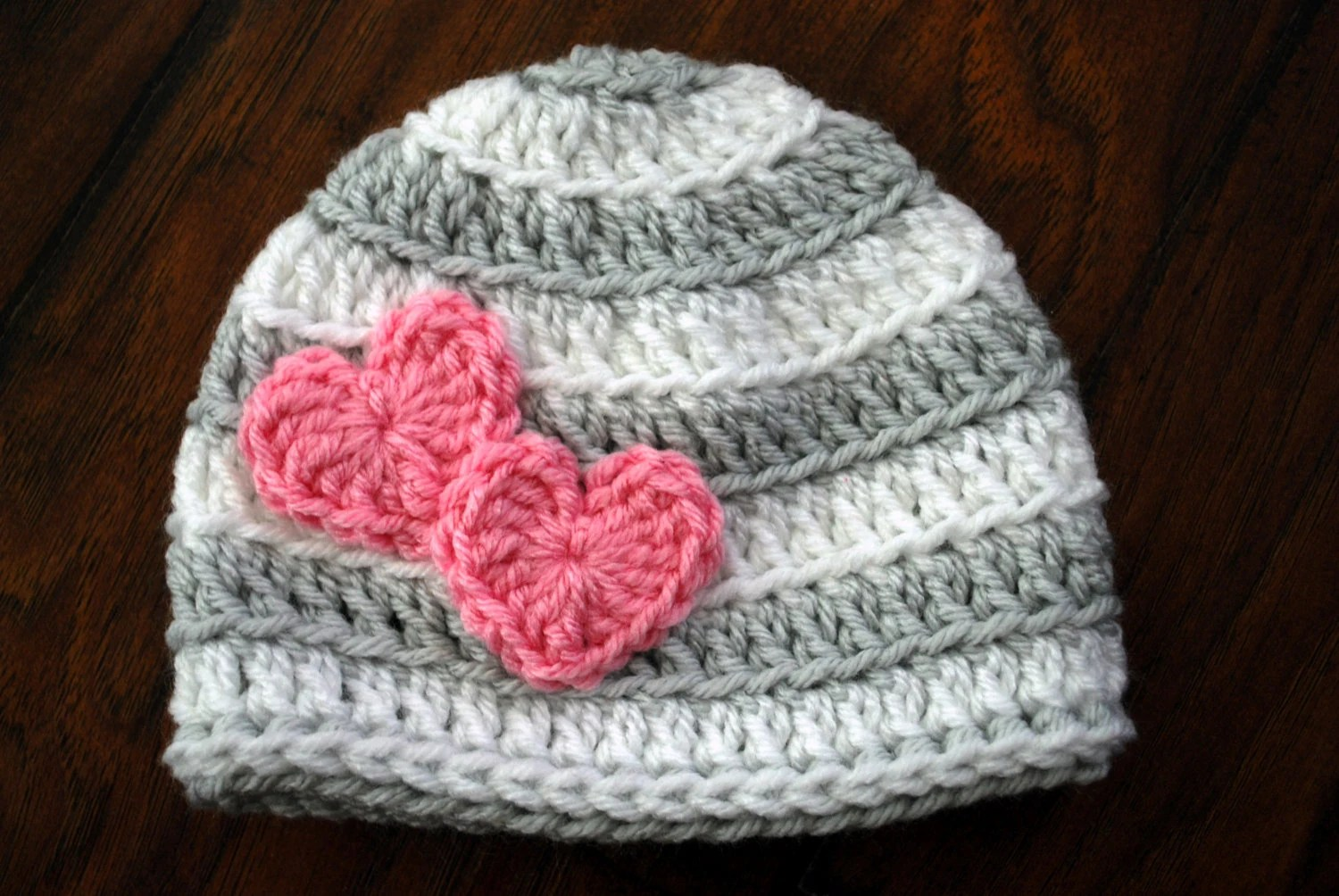 Valentine Striped Crochet Hat With Hearts By Loopyslipknot