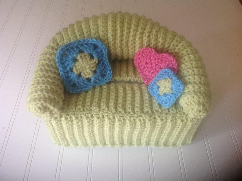 crochet sofa cover patterns colonial furniture fun retro doll tissue box couch