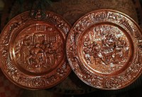 Copper Decorative Plates. Set of Two Peerage Repousse Copper