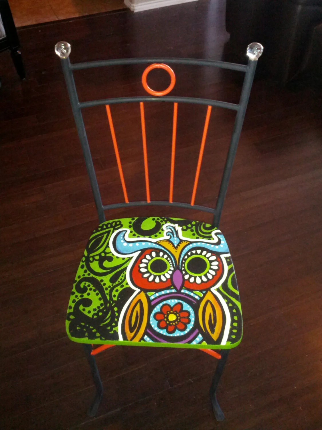 hand painted wooden chairs office depot task chair owl retro style hippie with beaded