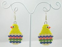Beaded Chick in Easter Egg Earrings Easter Jewelry by LazyRose