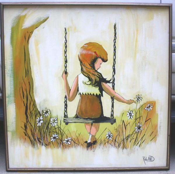 Retro Painting Girl Swing With Daisies Swinging