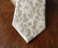 Boudoir Lace men's necktie. 100% silk tie ivory cream