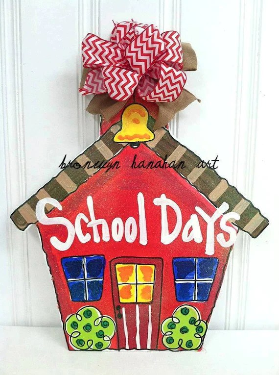 School House Door Hanger Bronwyn Hanahan Art by BronwynHanahanArt