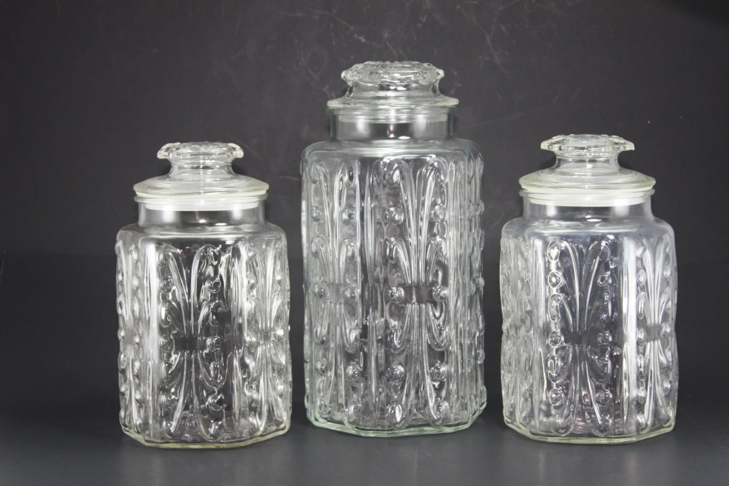 clear kitchen canisters ways to redo cabinets vintage glass canister decorative embossed jars set of