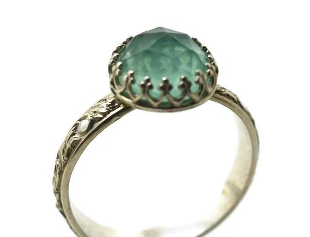 Fluorite Ring Handmade Engagement Ring Green By Fifthheaven