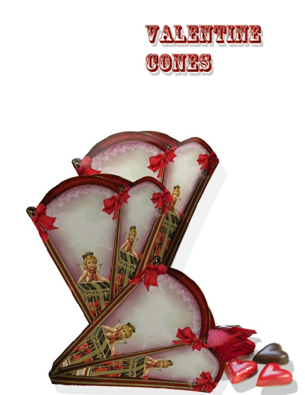 Valentine Candy holder cone gift box Victorian instant
