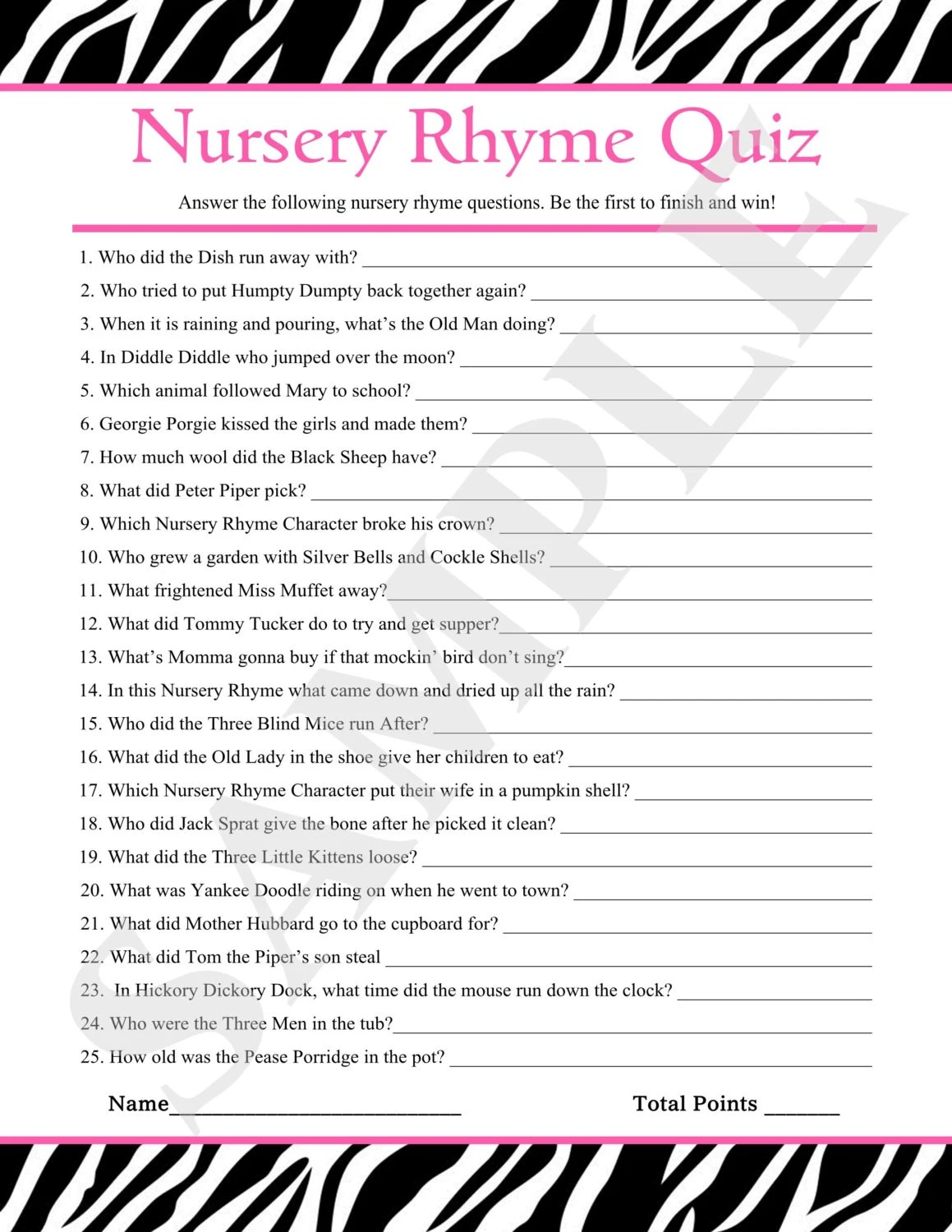 Instant Download Printable Nursery Rhyme Quiz Amp Answers