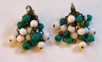 1950s Green and White Beaded Clip-On Earrings