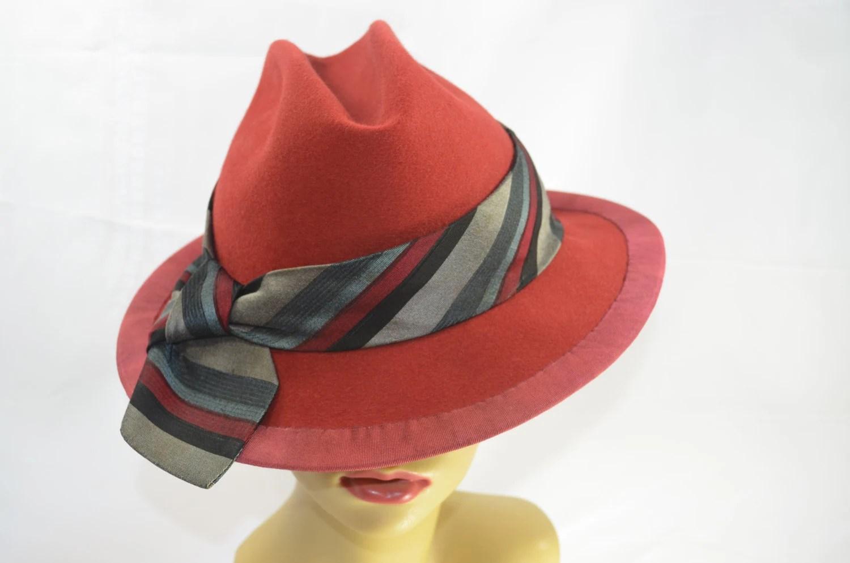 Red Fedora with Tie Hat Band Unisex - MixedMediabyBridget