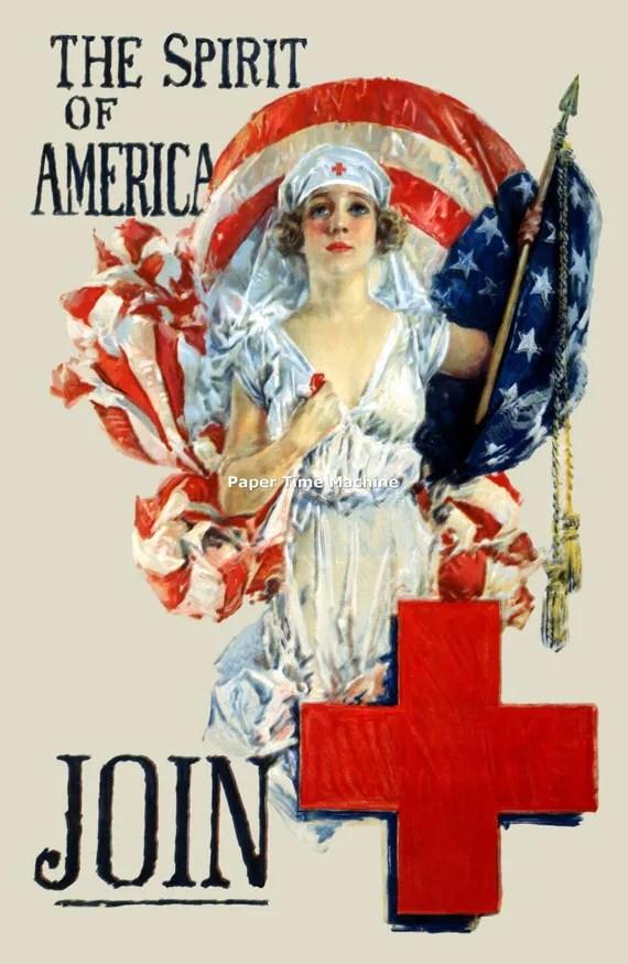 Items similar to Spirit of America Red Cross Nurse WWI Vintage Art Print  Digitally Remastered