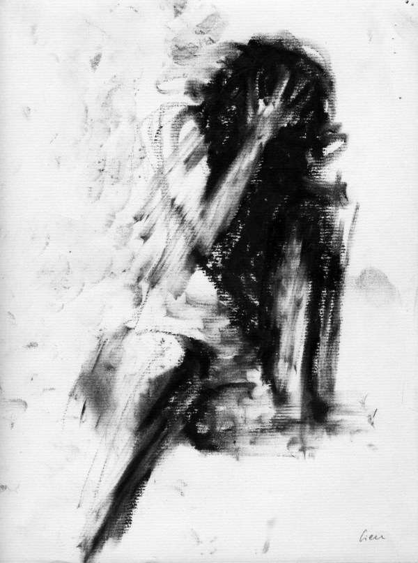 Haunting Figure Drawing Moody Dark Fine Art Crayon