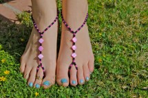Black And Pink Diamond Barefoot Sandals Slave Anklet Foot