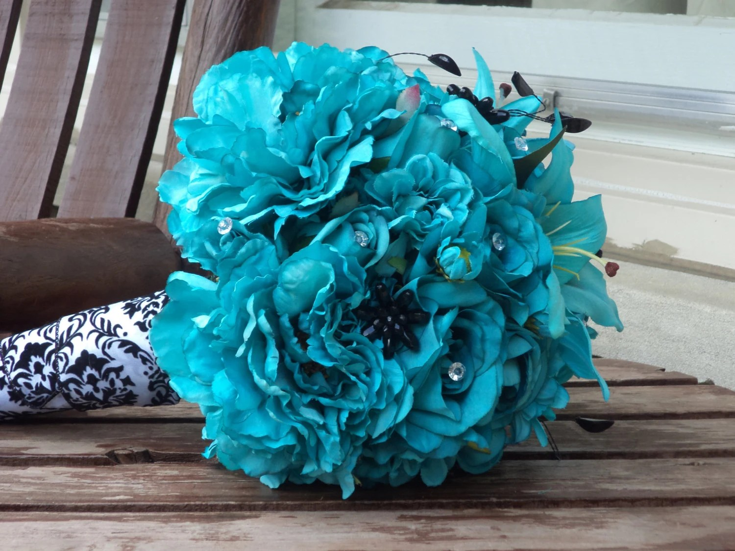 Teal Silk Bridal Bouquet And Grooms Boutonniere / Silk Wedding