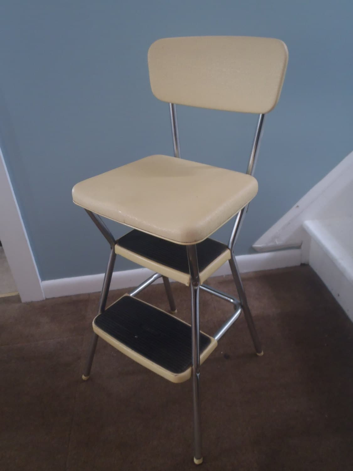 vintage cosco step stool chair imperator works brand gaming yellow kitchen with flip up