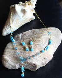 Matching Jewelry Set Beaded Necklace and Beaded Earrings