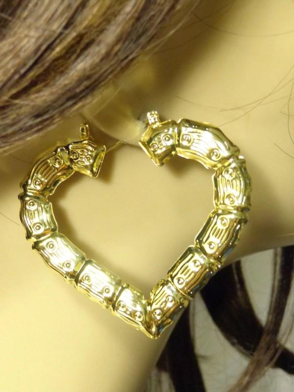Vintage 80' Bamboo Hoop Earrings Gold Tone