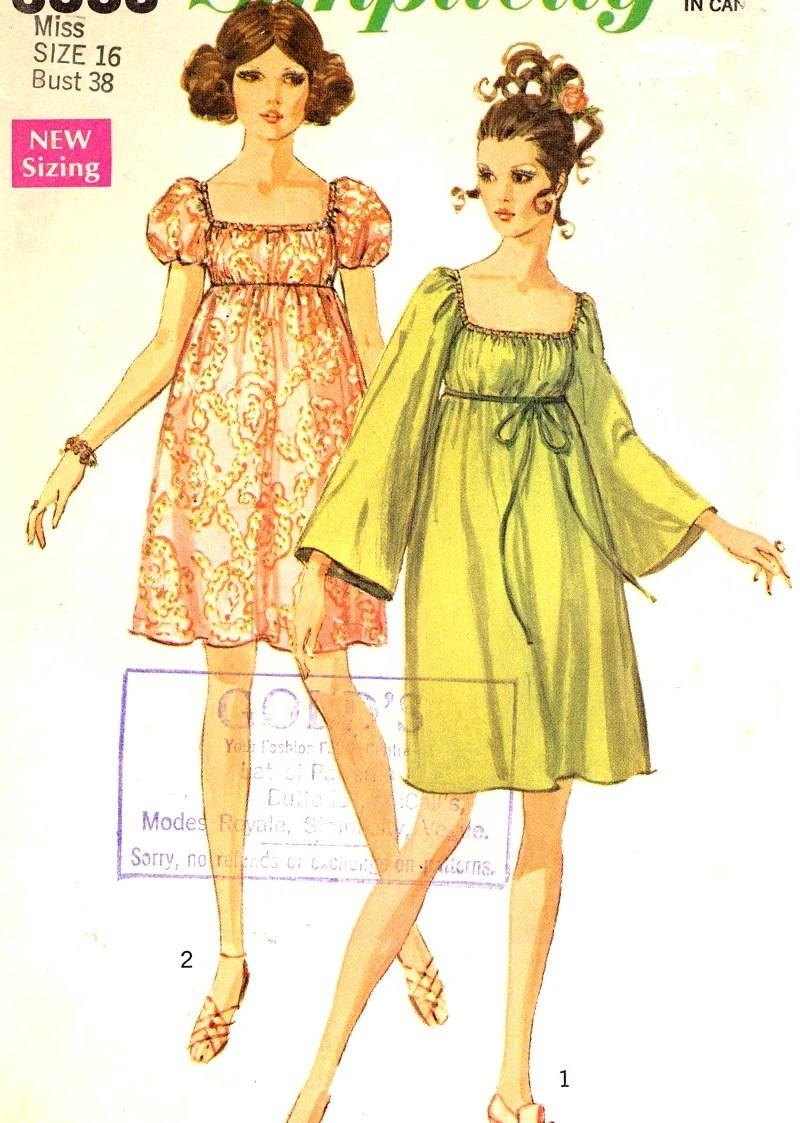 60s mod dress Empire waist vintage sewing pattern by HeyChica