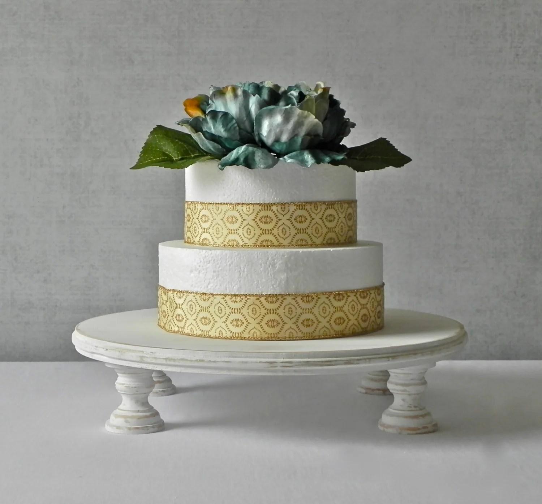 14 Inch Rustic Cake Stand Round Wedding Cake Stand Whitewash