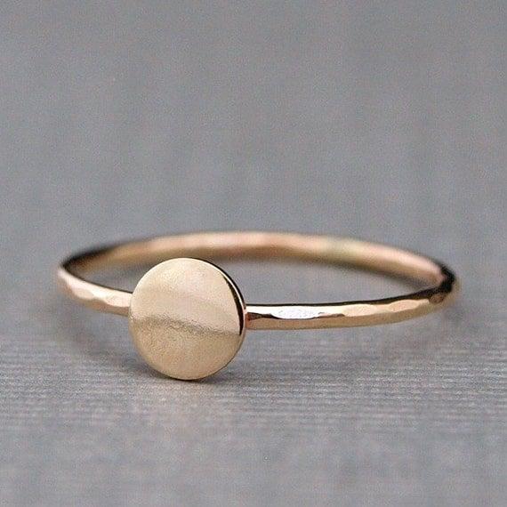 Items Similar To Tiny Gold Ring Plain Gold Circle Ring