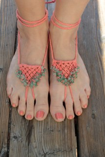 Barefoot Sandals With Aventurine Hemp Macrame Pair