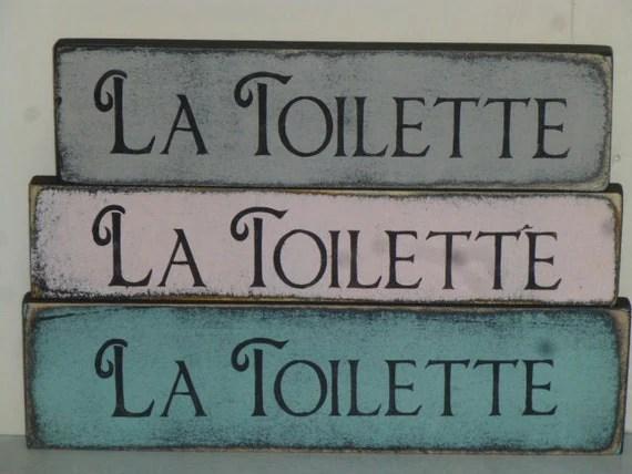 French TOILET SIGN / La Toilette shelf sitter sign