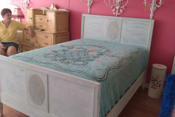 Shabby Chic Full Bed Vintage Aqua Blue Distressed French Cane
