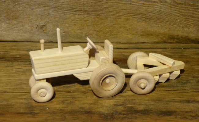Handmade Wooden Toys Farm Tractor And Plow Wooden Toys