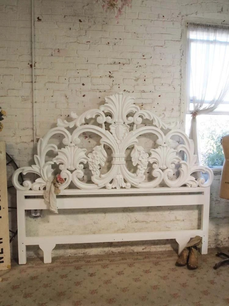 Painted Cottage Chic Shabby White French King Headboard