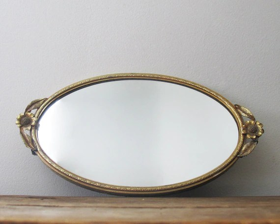 Antique Mirrored Vanity Tray Gold Tone With By