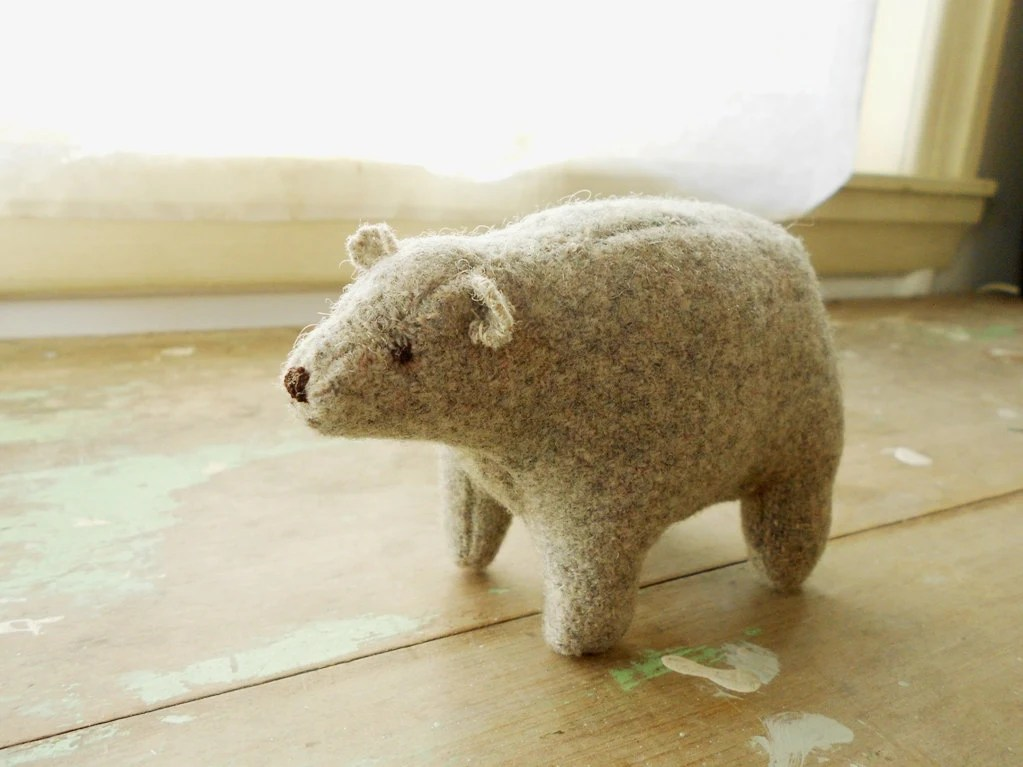Grey bear  / soft sculpture/ stuffed animal / vintage wool