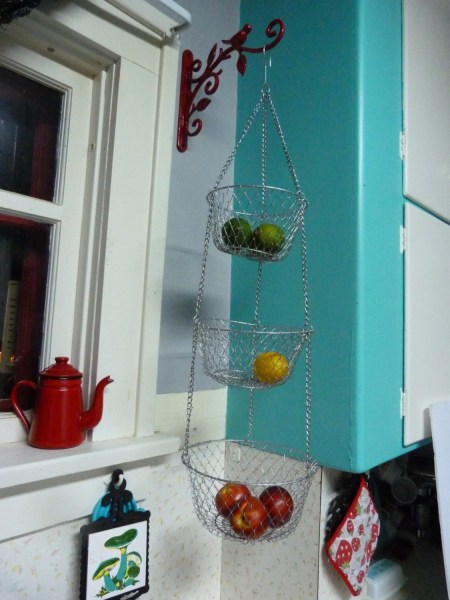 hanging kitchen basket Vintage 3 Tier Wire Hanging Kitchen Basket Silver Color