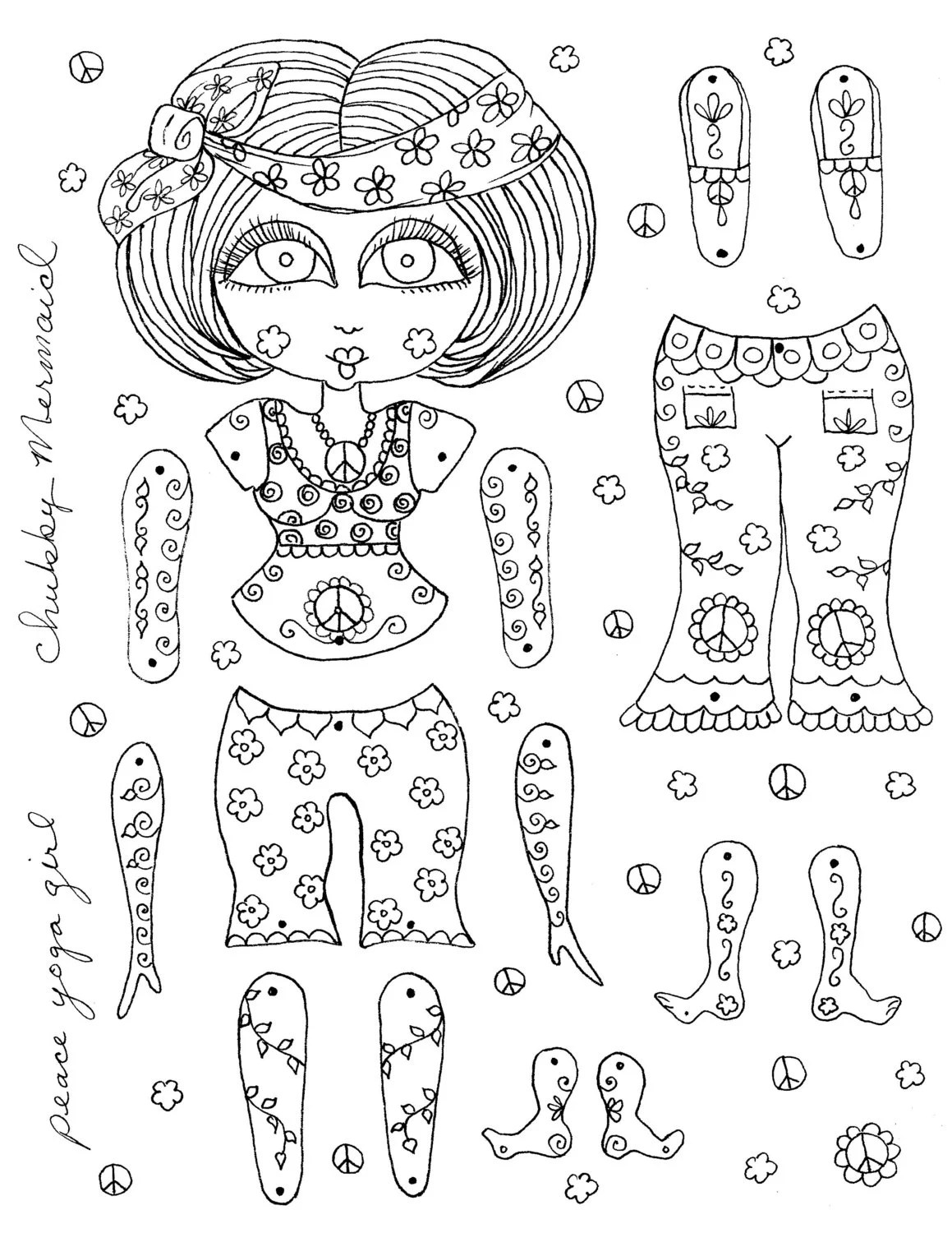 Instant Download Paper Dolls Peace Yoga Girl Color and Have