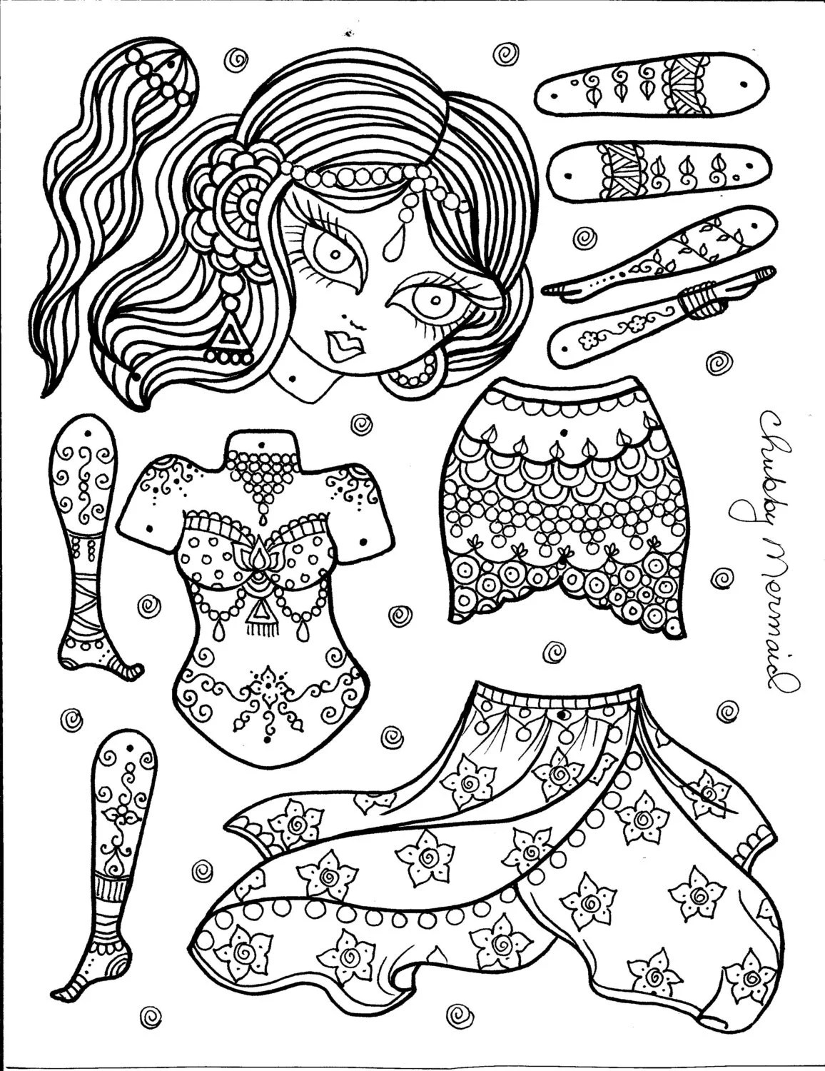 Jointed Paper Doll Template Sketch Coloring Page