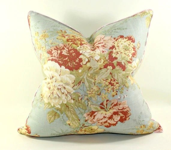 Waverly Ballad Bouquet in Robins Egg Pillow Cover Cushion