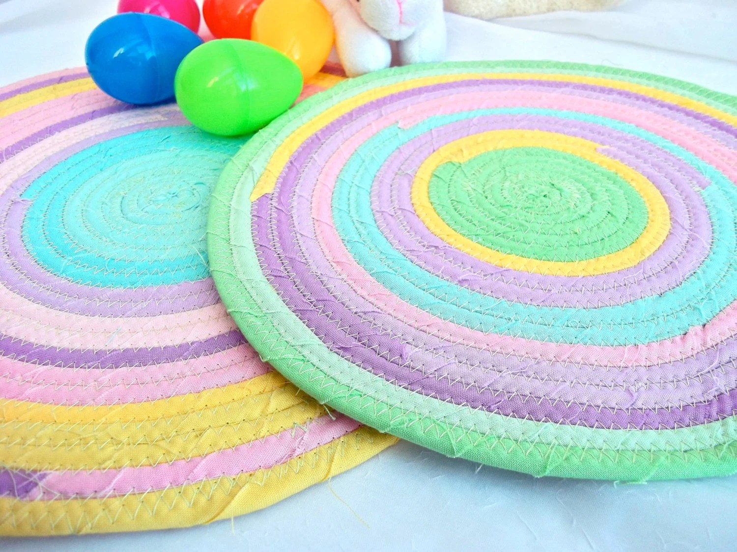 Pastel Easter Trivets, Handmade Easter Hot Pads, Easter Mug Rugs, Table Runners, hand coiled fabric trivets - WexfordTreasures