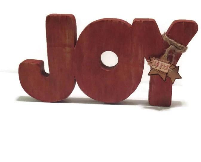 Rustic Christmas Decor - JOY - in Reclaimed Wood - CIJ Sale - HookUUpCustomCrafts