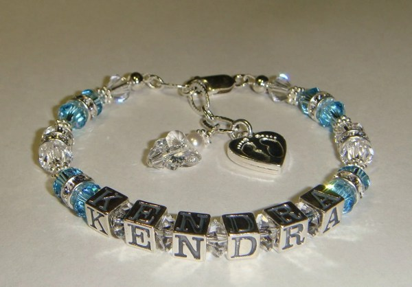 New Mom Bracelet Personalized with Baby Name Heart Baby