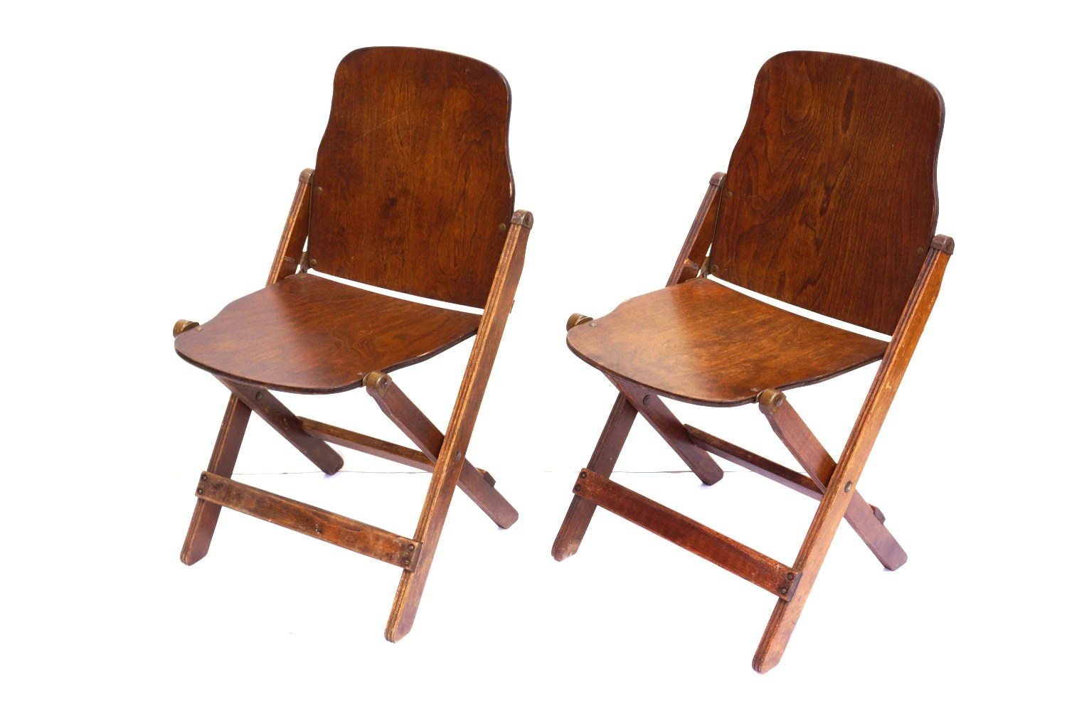 Antique Wooden Chair Vintage Antique Wood Folding Chairs With Brass Hardware Set