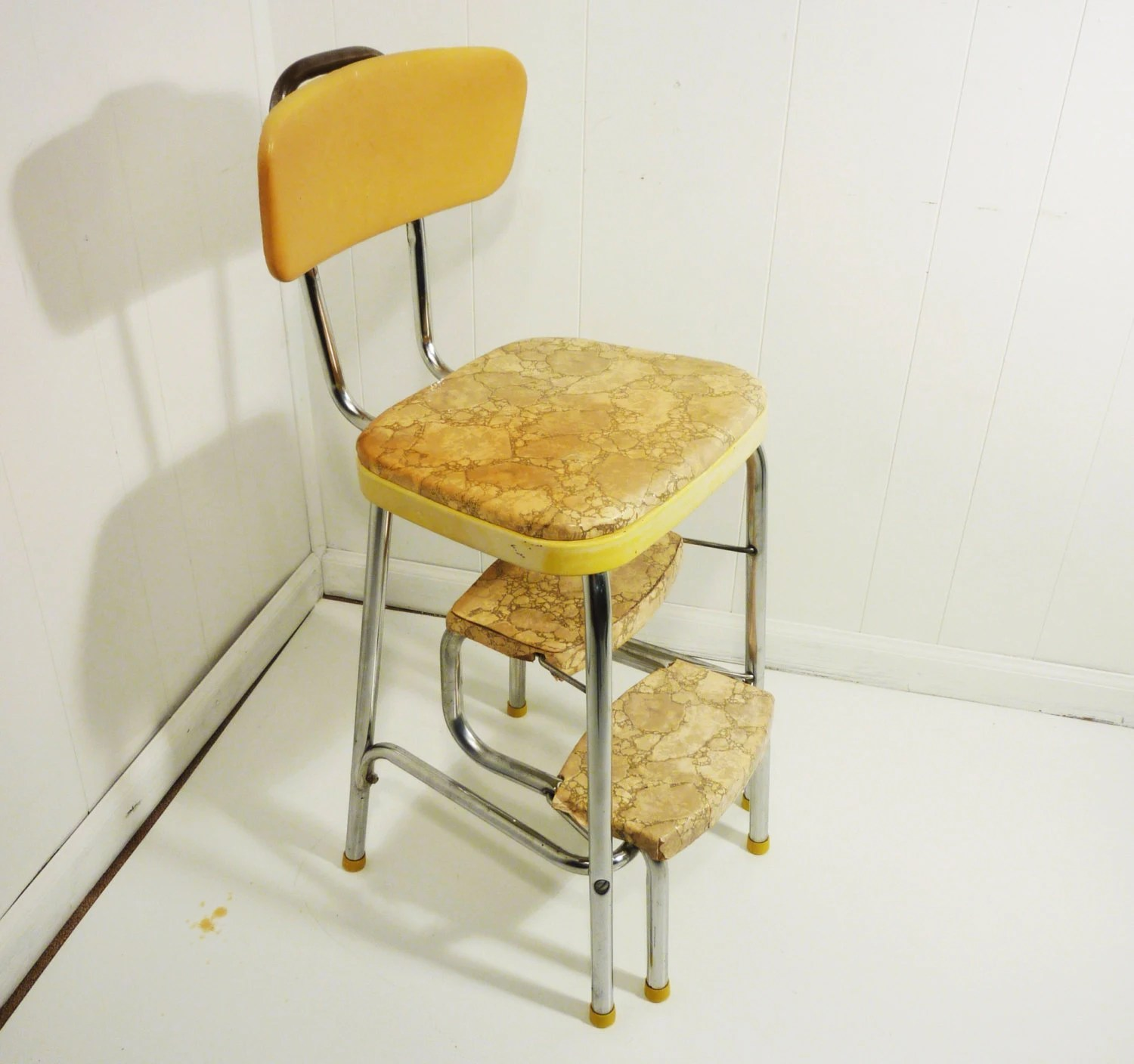 chair stool retro and a half leather 50s vintage step kitchen