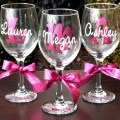Glitter monogram personalized wine glasses great bride and