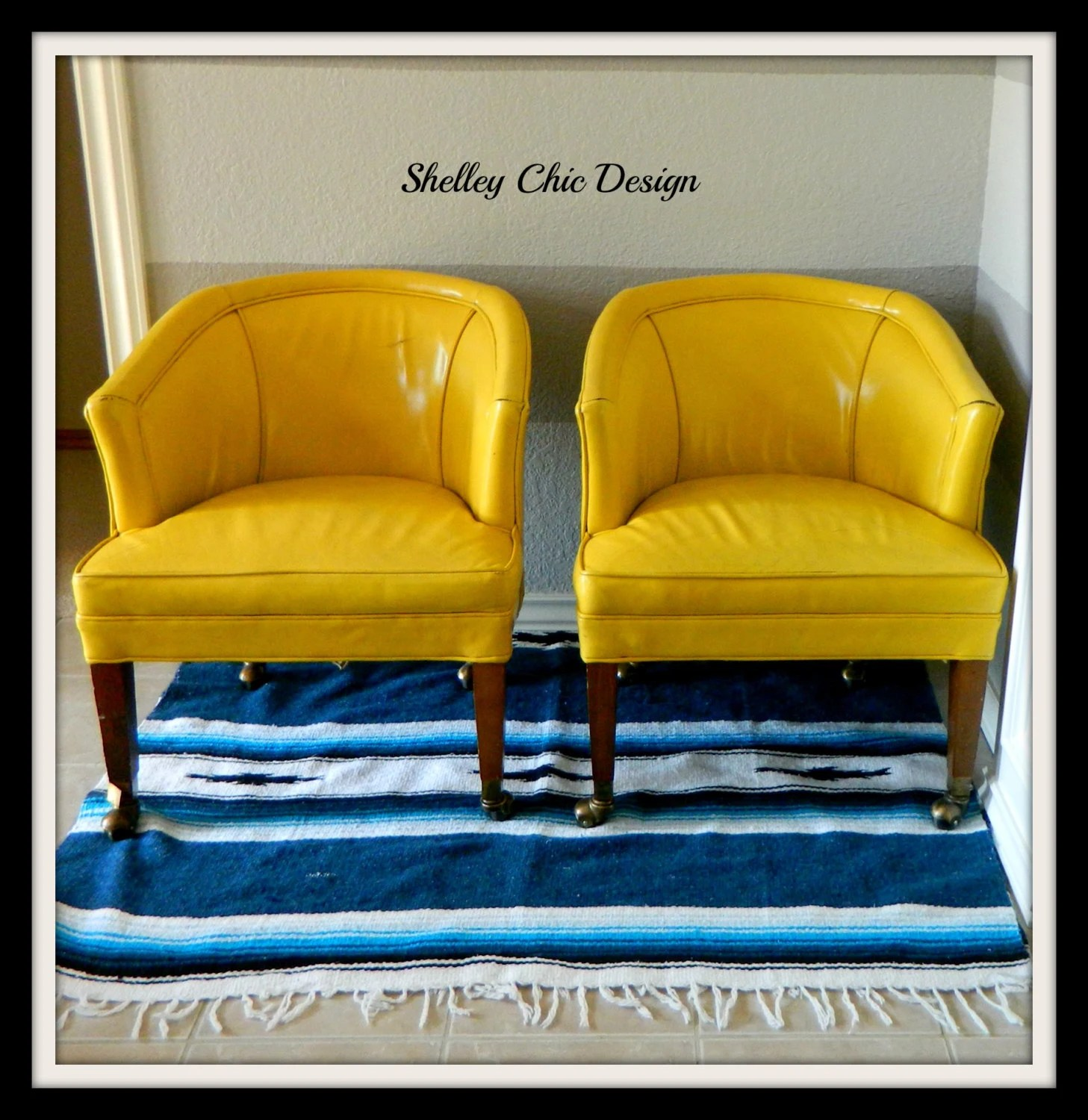 yellow club chair wooden rocking for nursery pair of vintage leather chairs reserved anna