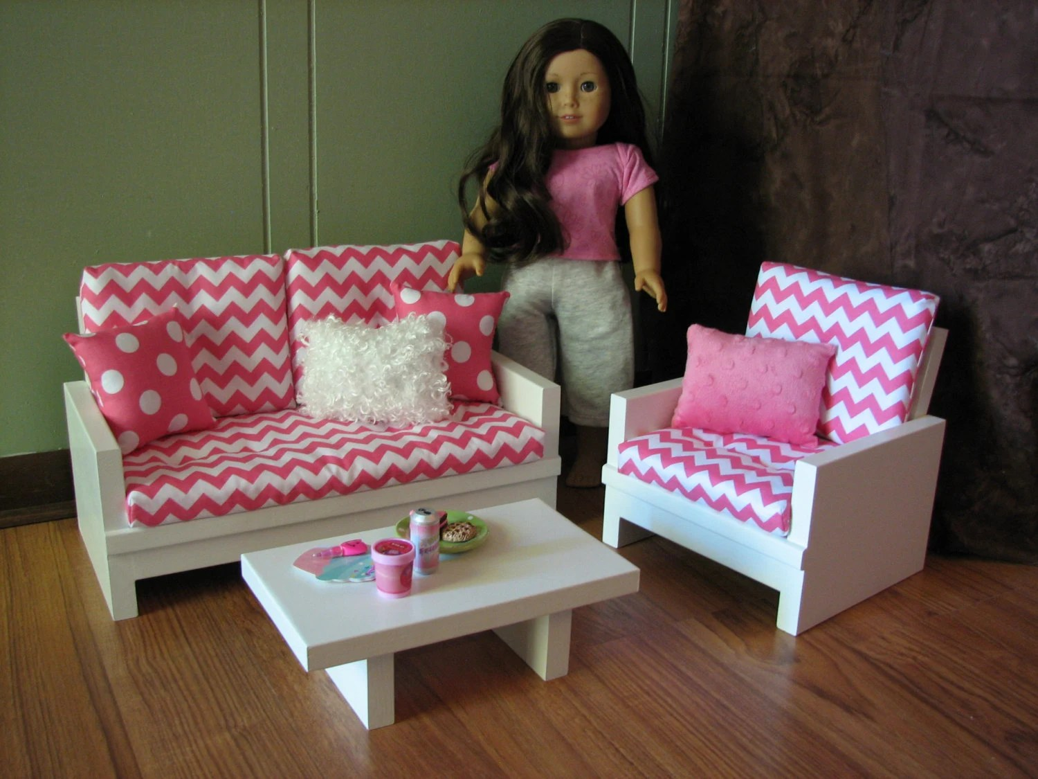 boxed chair cushions clear desk chairs american girl sized living room / 18 doll furniture