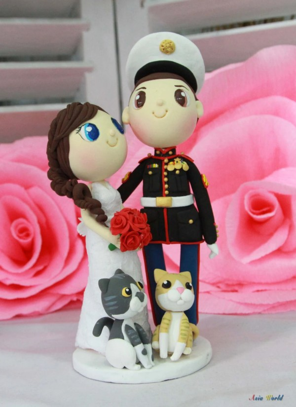 Marine Wedding Cake Topper With Lovely Cats Clay Doll