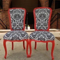 Damask Accent Chair King Outdoor Furniture Items Similar To Pair French Chairs Painted Satin Red Upholstered Black White Linen ...
