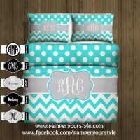 Polka dot and Chevron Duvet with 2 Matching Shams - Aqua ...
