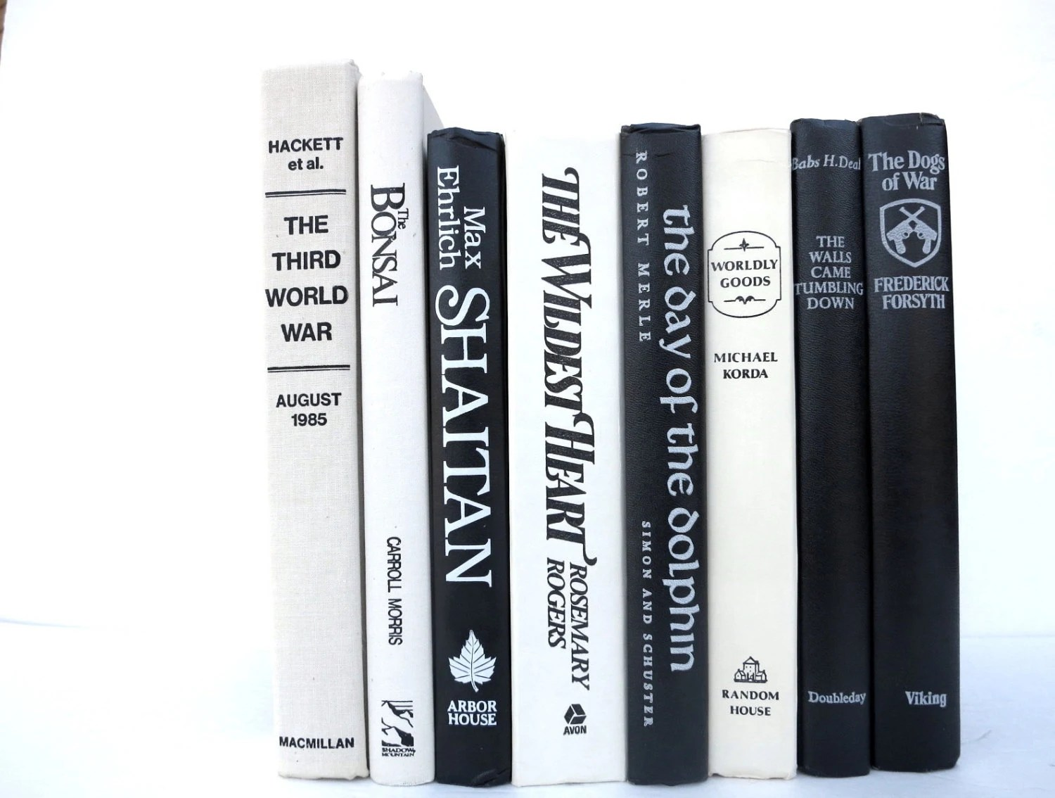 Striking Black and White Vintage Books / Book Decor / Decorative Books / Instant Library / Library Filler / Home Decorating / Interior Decor - redladybugz