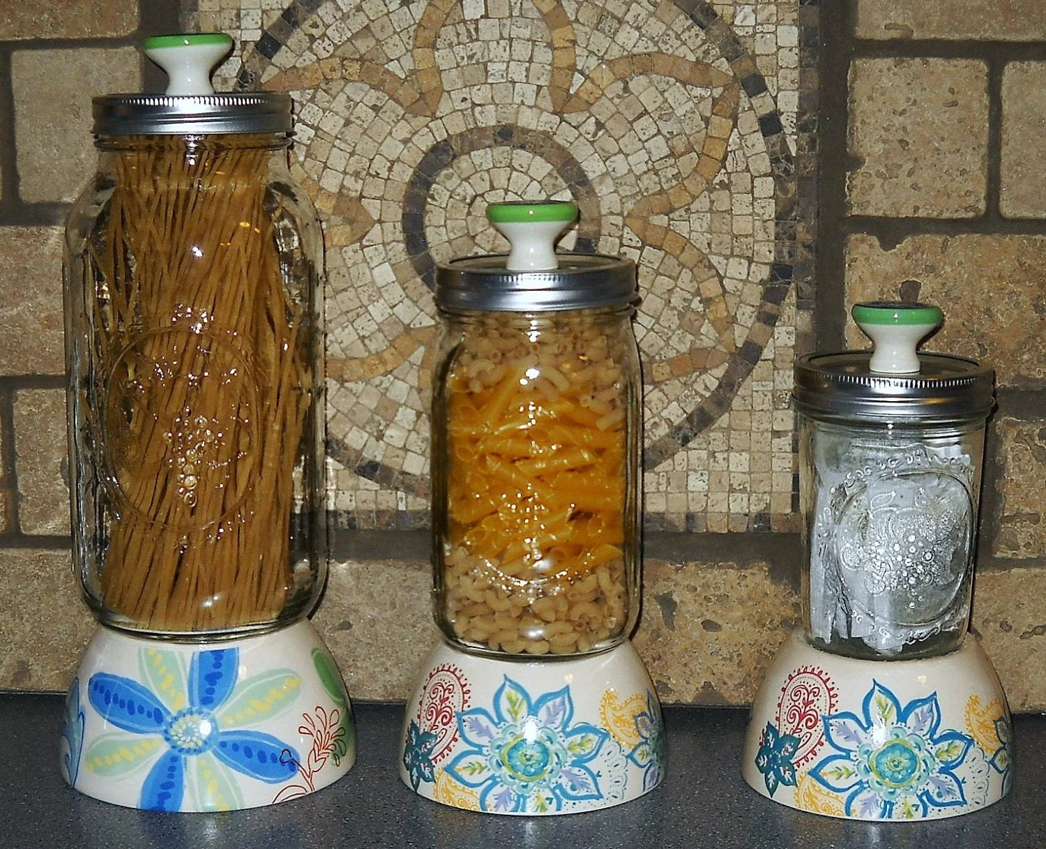 decorative glass jars for kitchen shelves mason jar canisters by orangezebradesigns