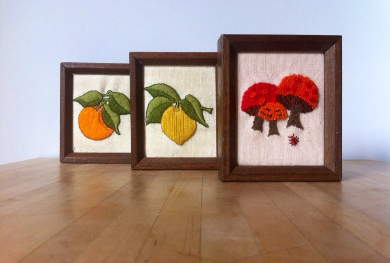 Vintage Embroidered Wall Art / Set of Three